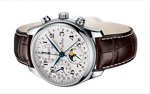 ZCCZJBXS Luxury Men Watch Stainless Steel Sapphire Blue Automatic Mechanical Brown Leather Perpetual Calendar Moonphase White Brown Leather White