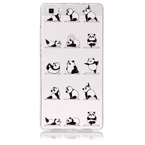 HengJun pour Huawei P8 Lite Housse de Protection, Etui Ultra-Clair et Transparent en TPU 3D Relief en Relief en 3D Coque pour Huawei P8 Lite - Yoga Panda