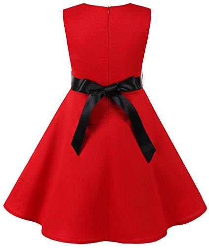MUADRESS Mädchen Kleid Vintage Kinder Braumwolle 50 Jahre Blumenmädchenkleider Rot