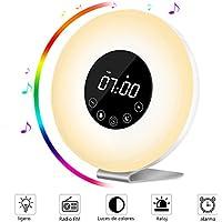 Wake Up Light Despertador con Luz (Nueva Versión), AUELEK Simulación de Amanecer y Atardecer LED Lámpara despertador de Función Snooze, radio FM, 7 Luces LED de Colores, 6 Alarmas,10 Niveles de Brillo