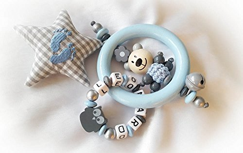 Greifling / Rassel mit Namen, Greifring, Junge - Geschenk zur Taufe, Geburt, Babyparty (Hellblau, Grau, Stern, Teddy)