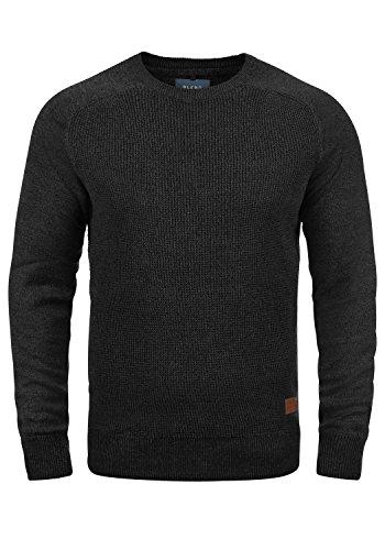 BLEND Gandolf Herren Strickpullover Feinstrick Pullover Mit Rundhals Und Melierung Aus 100% Baumwolle, Größe:M, Farbe:Charcoal (70818)