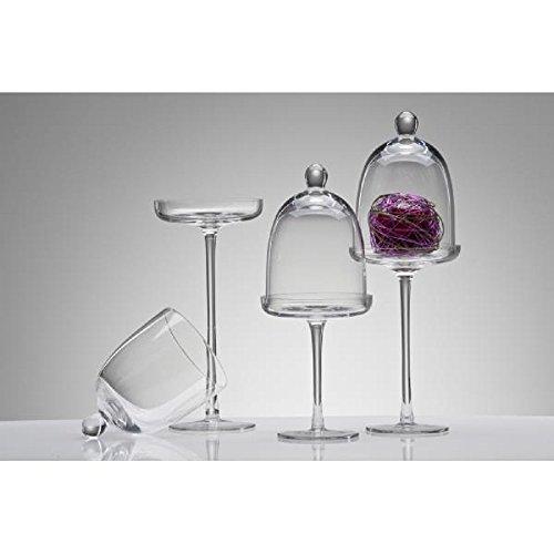Sandra Rich Glasplatte, Glasglocke auf Fuß mit Glocke Haube H 40cm D. 12cm klar