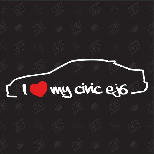 speedwerk-motorwear I Love My Civic EJ6 Coupe - Sticker für Honda Bj. 96-00, MK6 (Honda Civic 00)