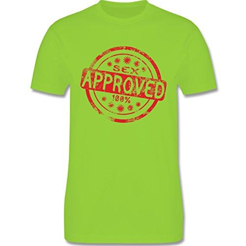 lustige Sprüche - Sex approved - L190 Herren Premium Rundhals T-Shirt Hellgrün