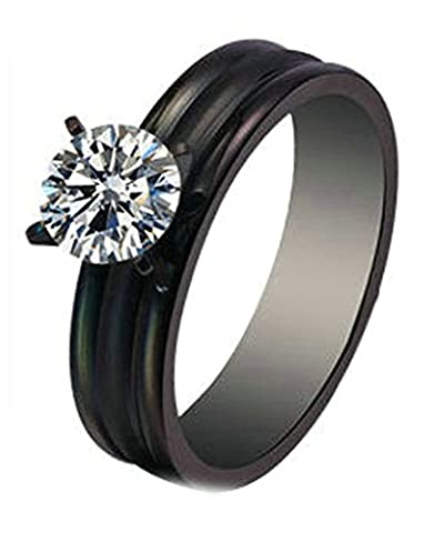 Aooaz Stainless Steel Ring For Women Three Lines CZ Crystal Black Wedding Band Free Engraving Size R