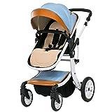 GHCX Kinderwagen Sportkinderwagen Baby Trolley Aluminiumlegierung Ultraleichtes Falten Kann Sitzen Kann Landschaft Regenschirm Sommer Und Winter Liegen Sicher,Blue