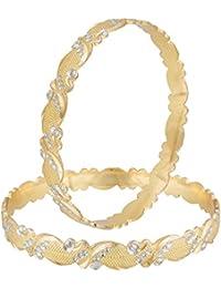 Aadita Fashion Jewellery Traditional Dual Tone Gold And Silver Finish Bangles