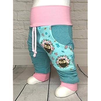 Baby Pumphose mit Tasche Gr. 50-104 Eulen Rosa Mint handmade Puschel-Design