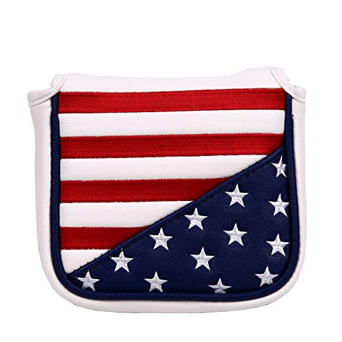 Sword &Shield sports USA Stars and Stripes Square Mallet Shaped Magnetic Closure Golf Putter Head Cover for Scotty Cameron Golf Builder