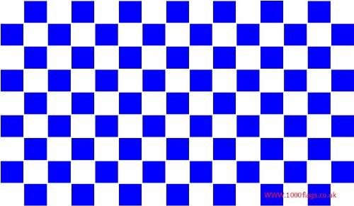 Blau und Weiß karierten Ärmeln Boot und Tree House Flagge 45cm x 30cm