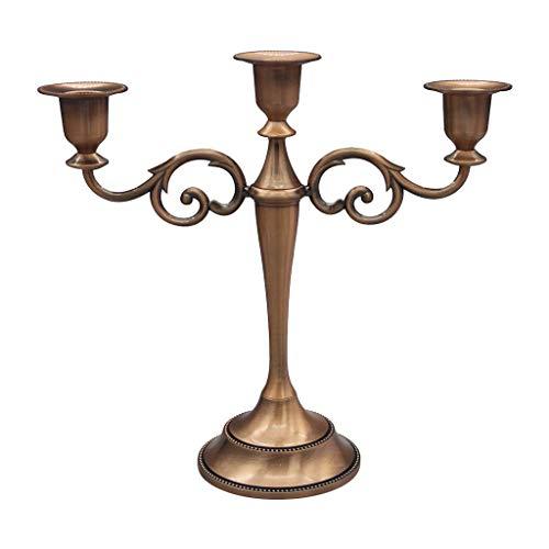 F Fityle Kerzenständer 3-armig Kerzenleuchter Kandelaber aus Metall, Höhe 26 cm, Braun