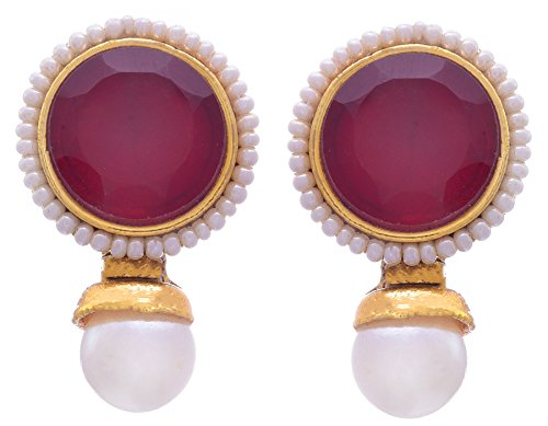 JFL - Traditional & Ethnic One Gram Gold Plated Designer Earring With Pearls For Women & Girls