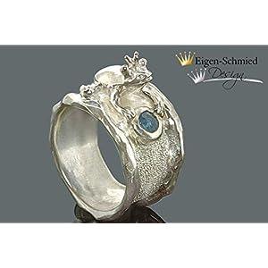 Goldschmiede Silberring, Froschring, Froschkönig, Frosch mit Krone, Silberschmuck handmade, handmade ringe, Damen Ringe, Schmuck Ringe, 925
