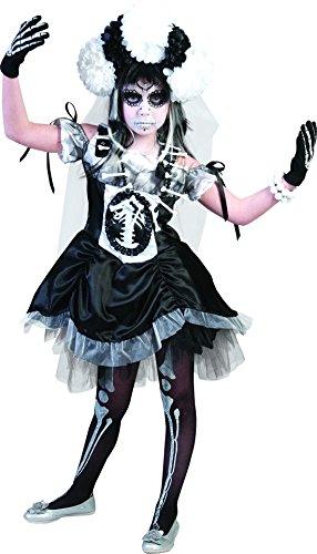 Faschingsfete - Halloween Kinder Teenie Kostüm Kleid + Schleier + Kopfschmuck Tag der Toten-Mexikanisches Totenfest, 152, 12 Jahre, - Schwarz Halloween-make-up Gesicht Katze