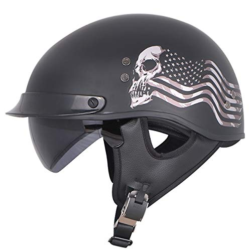 Berrd Mezzo casco per moto retrò in vetroresina con ombreggiatura interna estate e inverno con sciarpa casco bandiera spirito L