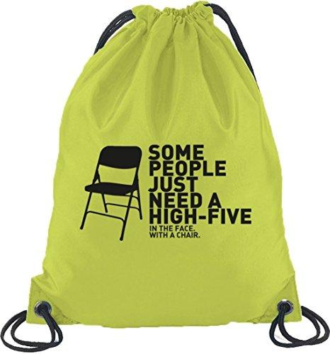 Shirtstreet24, High Five, Turnbeutel Rucksack Sport Beutel Limone