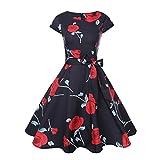 VEMOW Mid-Season Elegante Damen Damen Vintage Bodycon Kurzarm Casual Täglichen Tanz Retro Abend Party Prom Swing Kleid Faltenrock Abendkleider(Rot, EU-40/CN-M)