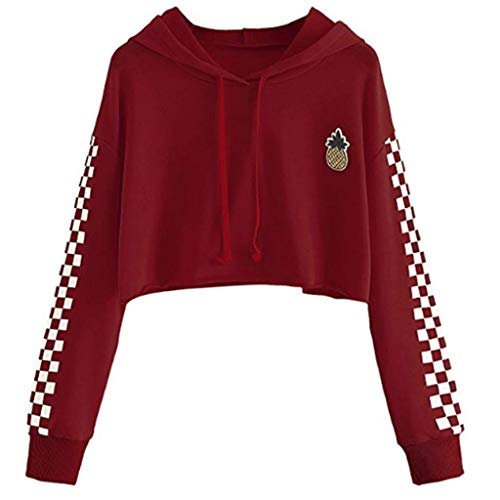 chenpaif Womens Crop Tops Sweatshirt Pineapple Embroidery Gingham Plaid Hoodies Pullover Wine Red L -