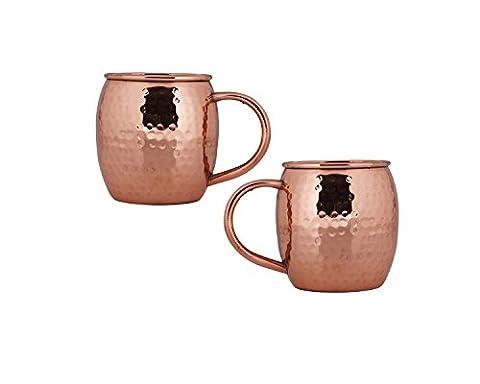 Kosma Set von 2 Kupfer Bier Becher 16 Unzen | 475 ml (Hammered Finish) mit Kupfergriff