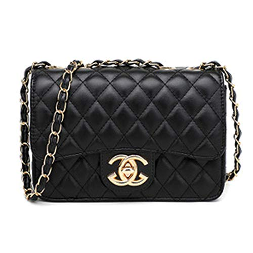 Handtaschen Messenger Bag Lingge Kette Paket Schulter Mode Mini Tasche,Black-OneSize -