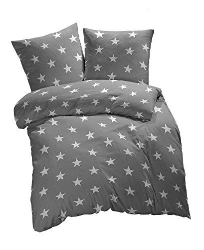 Bettwäsche Jersey (2 tlg. Renforcé Bettwäsche Sterne Muster - Ganzjahres & 4-Jahreszeiten Bettwäsche-Set - 135x200 + 80x80 cm - Grau)