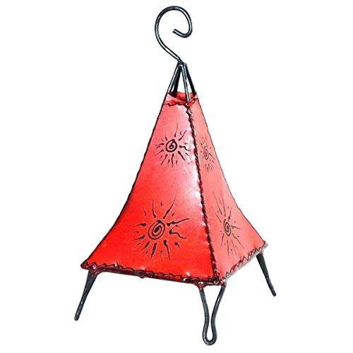 Orientalische Lampe Stehlampe marokkanische Hennalampe Lederlampe Tischleuchte Stehleuchte Orient Pyramide Sonne 40 cm Color Rot (Asiatische Orientalische Lampe)