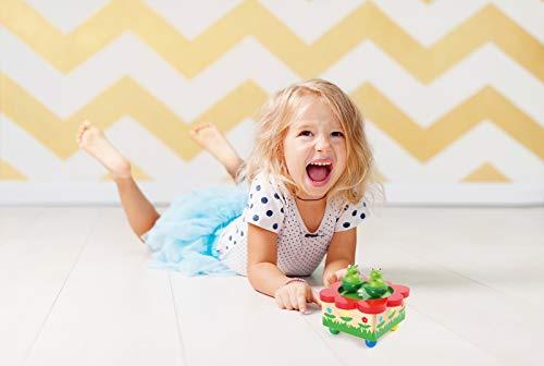 """Spieluhr """"Froschteich"""" / Babyspielzeug aus Holz, mit abnehmbaren, bunten Magnet-Figuren, tanzende Frösche und eine schöne Melodie verzaubern Babys und Kinder - 3"""