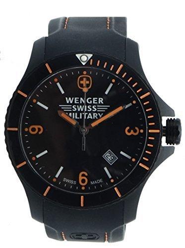 WENGER WOMEN'S 43MM BLACK SILICONE BAND STEEL CASE SWISS QUARTZ WATCH 79031