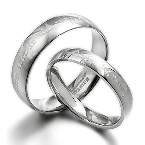 """Valentine\'s Day \""""für Pärchen, Motiv Herr der Ringe Elvish Tengwar passende Wedding Ring, gewölbt, Titan, Court, Größe 47 bis 77"""