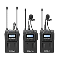 BOYA BY-WM8 Pro-K2 UHF Dual-Channel Wireless Microphone Receiver+Transmitter A+B+ LCD Screen for Canon Nikon Sony DSLR Camera