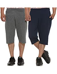 ELK Mens's Cotton Three Fourth Shorts Capri Trouser Clothing 2 Color Set Combo