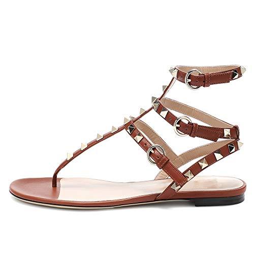Lutalica Damenmode T-Strap besetzt Casual Komfort Sommer Flache Sandalen Schuhe (46 EU, Brown)