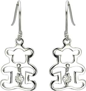 Boucles d'Oreilles Pendantes Femme - Pendantes Forme Ourson - Argent 925/1000 Rhodié - Oxyde de Zirconium - 1.2 gr - 51157