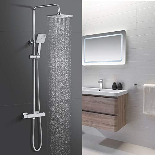 Duschsystem mit Thermostat, Regendusche Duschkopf und Handbrause, WOOHSE Duschset Brausegarnitur mit Armatur Dusche mit Schwenkbarem und Höhenverstellbarem Regenbrausearm ca. 81 bis 115cm, chrom