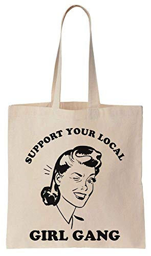 Finest Prints Support Your Local Girl Gang Cotton Canvas Tote Bag - Girls Womens Natural