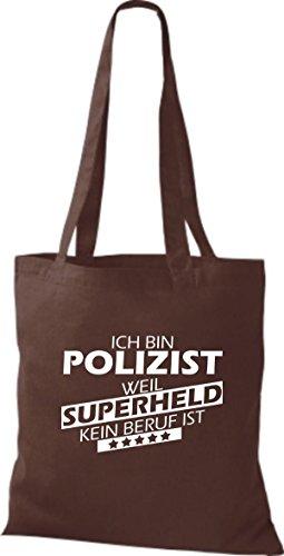 Shirtstown Stoffbeutel Ich bin Polizist, weil Superheld kein Beruf ist braun