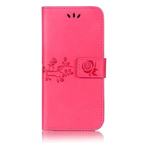 JIALUN-étui pour téléphone Cas d'IPhone 6S 6, avec la fente de carte, boucle magnétique a embelli la coquille plate de téléphone pour l'IPhone 6S 6 ( Color : Purple , Size : IPhone 6 6S ) Rose