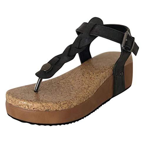 ABsoar Sommersandalen Damen Mode Flip Flops Zehentrenner Peeptoe Keilschuhe Casual Schnalle Sandalen Plattform Schuhe Freizeitschuhe Bequeme Outdoor Plateauschuhe (Schwarz,35)