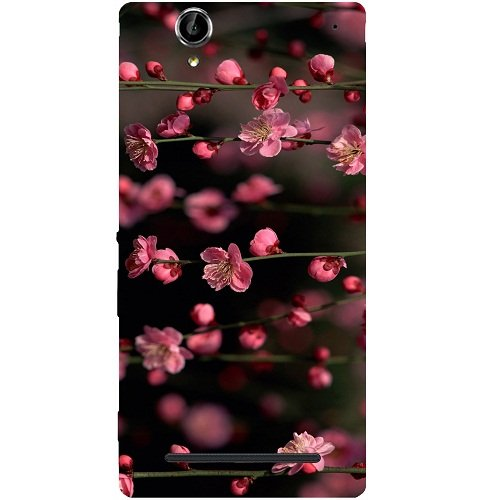 Casotec Pink Flowers Design Hard Back Case Cover for Sony Xperia T2 Ultra