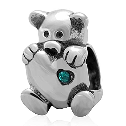 Soulbead Bear Hug a Heart 925 Sterling Silver with Emerald