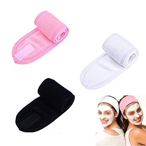 Frcolor Makeup Stirnbänder, Dusche Gesichts Stirnbänder Head Wrap Stretch Handtuch mit Magic Tape zum Waschen Gesicht Dusche Spa Maske, 3 Stück