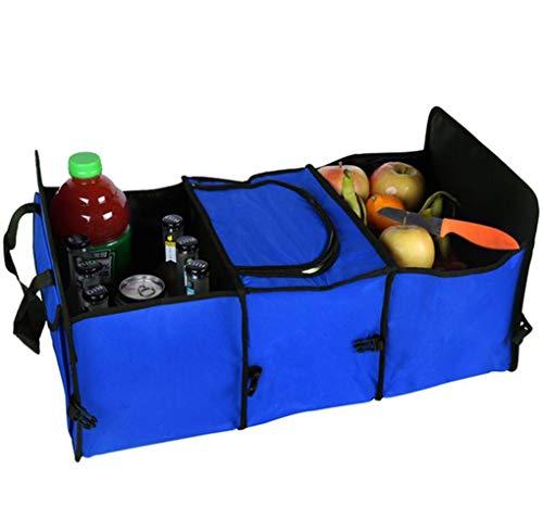WPFC Faltbare Trunk Organizer Box, Fach Trunk Storage Box Car Organizer Rücksitz Mit Stretch Mesh Seitentasche Blau,Blau -