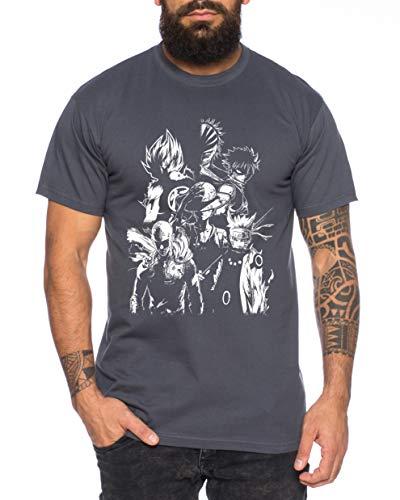 Heroes One Manga Helden Herren T-Shirt Anime Piece, Farbe:Dunkelgrau, Größe:M