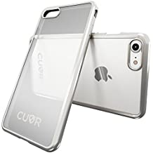 iPhone 8 Case by Cuvr | Clear Back Gel Cover Also fits iPhone 7 with Flexible Metallic Bumper (Silver)