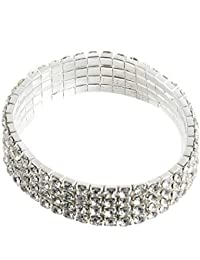 Lovelysunshiny 3/4/5 Filas Encanto Stretch Clear Rhinestone Crystal Bracelet Bridal Bangle