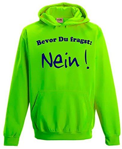BEVOR DU FRAGST - NEIN ! Kinder NEON SWEATSHIRT green Gr.Kinder 3/4 Jahre