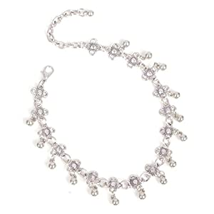 Adisaer Fußkette Damen 1 Stück Ball Beads Blumen mit Kristall Fußkettchen Silber Für Frauen Zehenkette Strand Fuss-Schmuck