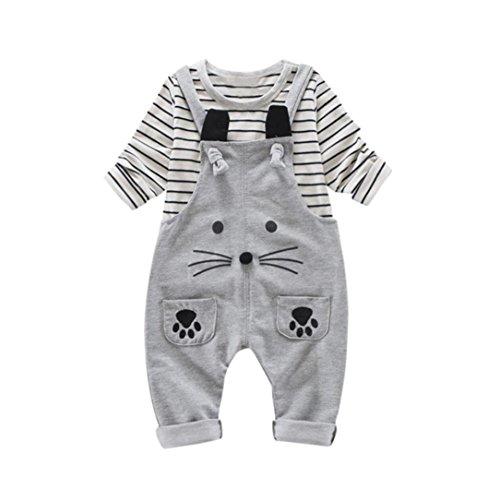 0-2 Jahre alt Babys Outfits , Janly 2Pcs Infant Kleinkind Jungen Mädchen Streifen Shirts Tops + Cute Cat Hosen Overalls Langarm-Kleidung-Set (6-12 Monate, Grau) (Monate 9 Langarm-shirts)