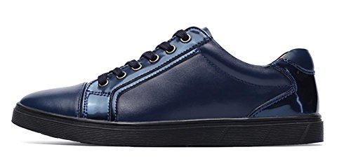 Herren outdoor-Freizeit Englisch Leder Fashion Sneaker Bootsschuh Blue